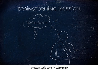 brainstorming session: thoughful man with brainstorming thought bubble with lightning bolt