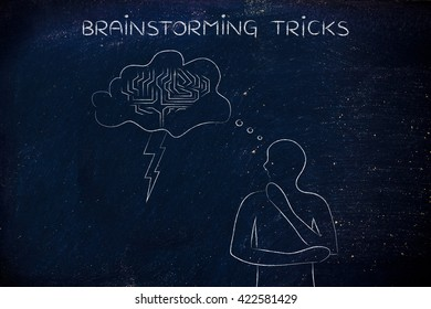 brainstorming tricks: thoughful man with brainstorming thought bubble with lightning bolt and brain design