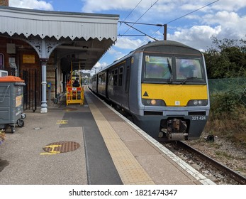 BRAINTREE, ENGLAND - September 24 2020: A Greater Anglia class 321 arrives at Braintree railway station with a service from London Liverpool Street.