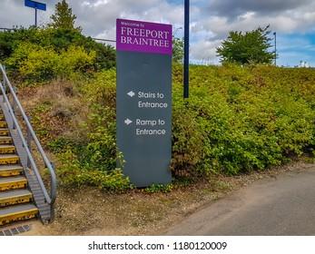 Braintree / UK - SEP 15 2018: Freeport shopping centre