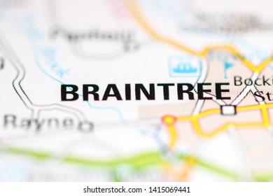 Braintree. United Kingdom on a geography map