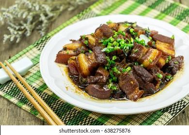 braise pork in dish,Vietnam food.