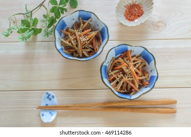 Braised burdock root and carrot in a sweet and salty sauce (Kinpira Gobo)