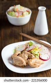 Braised chicken breast with a salad of radish