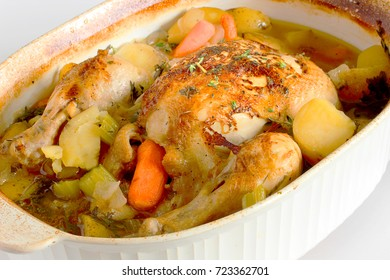 Braised chicken.  A one pot dinner that filled with healthy vegetables