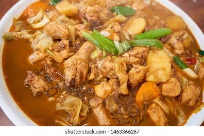 Braised spicy chicken with vegetables, Jjimdak