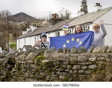 Braithwaite, United Kingdom - February 19, 2017: Delivering Pro European Leaflet. A by-election has been called in Copeland, UK and pro European voters are out with their message.