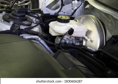 Brake booster with brake master cylinder installed in the car for safety