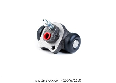 Brake cylinder, drum brake system on white background. Auto parts brake systems of drum type.