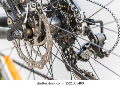 Brake disc of a rear bicycle wheel. close up photo