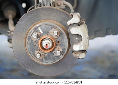 Brake disc and used brake pads of the wheel.