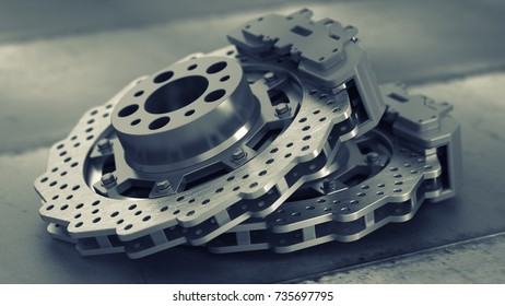 brake disk with perforation and calipers. High resolution 3d render