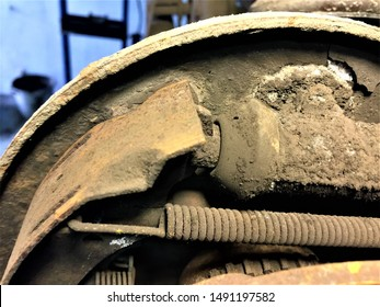 brake pads and cylinder brake drum close up. Rear drum brake assembly on suv and pick up car
