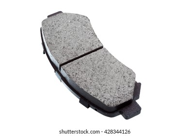Brake pads isolated, car part automobile brake shoes on a white background.