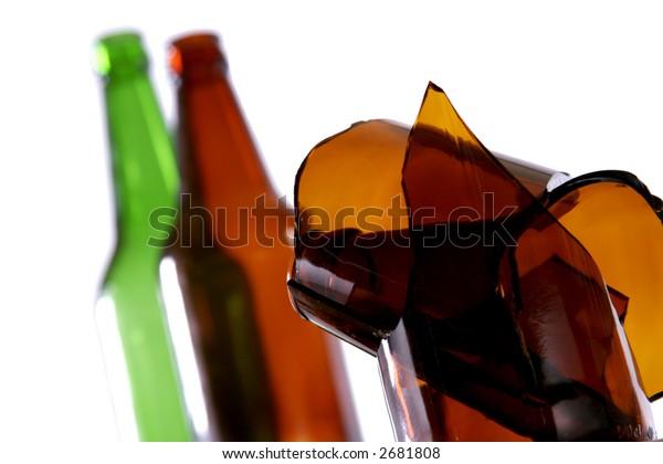 Braked glass, bottles