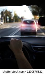 braking car before crossing