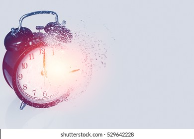 braking times time's up or time out concept, explosive broken clock or time bomb explode burst fire burn out old clock with dispersion effect with space for text.