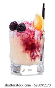 Bramble Cocktail. Gin, Blackberry and Lemon Drink isolated on white