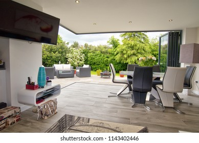 Bramcote, Nottinghamshire, UK, 05/26/2016 Modern living room interior room with open aspect