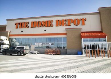 BRAMPTON, CANADA - MARCH 12, 2017: The Home Depot store. The Home Depot is an American retailer of construction products and services, operates many stores across the United States and Canada.