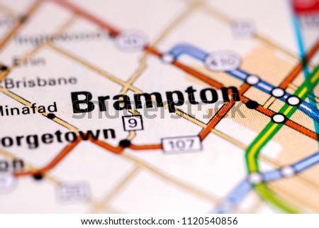 Brampton Canada Map.Brampton Canada On Map Stock Photo Edit Now 1120540856 Shutterstock