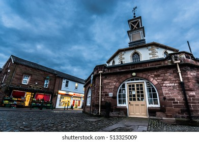 Brampton, Cumbria, UK - February 26, 2016:  Moot Hall in Brampton in the early morning.  The Moot Hall was built in 1817 and now serves as Brampton's tourist office