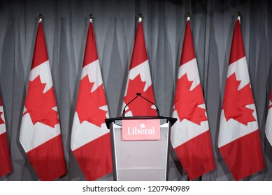 BRAMPTON - JULY 5 :Empty stage with Canadian flags in the background during a fund raising event organized by the Liberal Party of Canada on July 5, 2018 in Brampton, Canada.