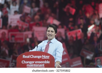 BRAMPTON - OCTOBER 4 :Justin Trudeau during an election rally of the Liberal Party of Canada on October 4, 2015 in Brampton, Canada.