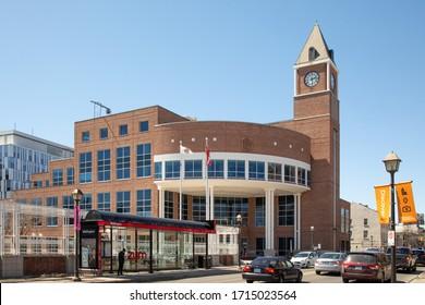 Brampton, Ontario, Canada April 22 2018: The City of Brampton city hall and clock tower