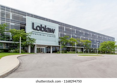 Brampton, Ontario, Canada- August 25, 2018: Loblaws Corporate Office Headquarters in Brampton. Loblaws Inc. is a supermarket chain with over 2,000 stores in Canada.
