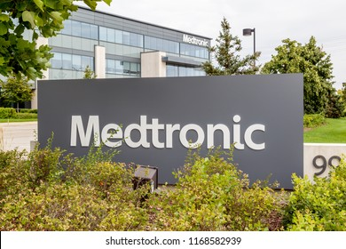 Brampton, Ontario, Canada- August 25, 2018: Sign of Medtronic at Canada Headquarters in Brampton, Ontario, Canada.  Medtronic is among the world's largest medical equipment development companies.