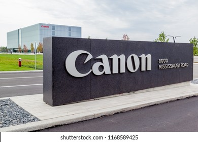 Brampton, Ontario, Canada- August 25, 2018: Sign of Canon at Canada Headquarters in Brampton. Canon Inc. is a Japanese corporation specializing in the manufacture of imaging and optical products.