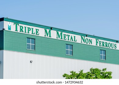 Brampton, Ontario, Canada - August 4, 2019: Triple M Metal LP Non-Ferrous facility in Brampton, Ontario, Canada,  a Canadian privately-held recyclers of ferrous and non-ferrous scrap metals.