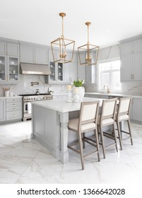 Brampton, Ontario / Canada - March 5, 2019: A modern white kitchen with a traditional touch custom designed by Toronto interior designer Jessica Mendes.