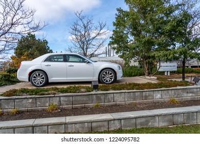 Brampton, Ontario, Canada- November 04, 2018: Entrance of Fiat Chrysler Automobiles, Brampton Assembly Plant, the American subsidiary of Fiat Chrysler Automobiles N.V.