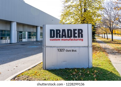 Brampton, Ontario, Canada- November 04, 2018: Sign of Drader Manufacturing Industries, Ltd. for Injection Molding, Plastic Fabrication, 3D Printing & Prototyping, Thermoforming.