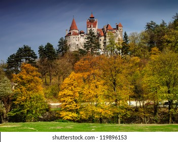 Bran Castle in autumn landscape
