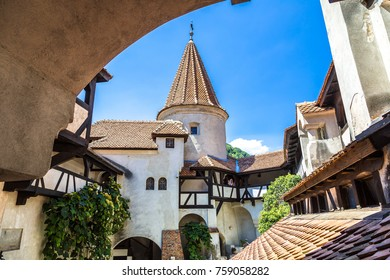 Bran castle in inner yard  in a summer day in Transylvania, Romania