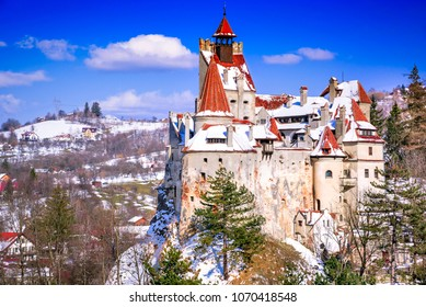 Bran Castle, Romania. Winter snowy image of Dracula Castle in Brasov, Transylvania, Eastern Europe.