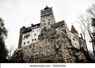 BRAN - MAY 8: Bran Castle on May 8, 2016 in Bran, Romania. The fortress built by the Teutonic Knights in 1212 is commonly known as Dracula's Castle.