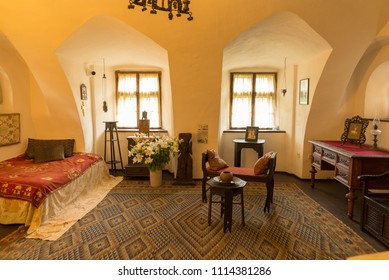 BRAN, ROMANIA - JUNE 3, 2018: Interior of Bran Castle named Dracula's Castle in Brasov County, Romania.
