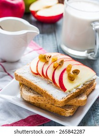bran toast with cheese, apple and dried fruits, healthy breakfast, clean eating