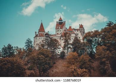 Bran, Transylvania region /Romania - June 10 2018: famous medieval castle Bran in the Carpathian Mountains, Transylvania, Romania. The legendary residence of Count Dracula, Vlad Tepes