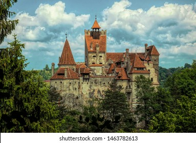 Bran, Transylvania region / Romania - June 10 2018: famous medieval castle Bran in the Carpathian Mountains, Transylvania, Romania