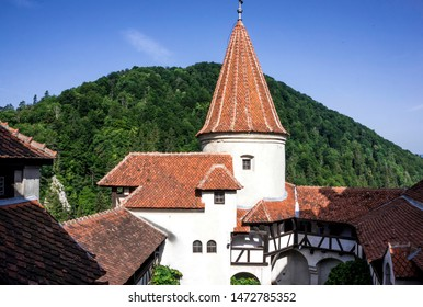 Bran, Transylvania region / Romania - June 10 2018: medieval castle Bran in the Carpathian Mountains, Transylvania. The legendary residence of Count Dracula, Vlad Tepes