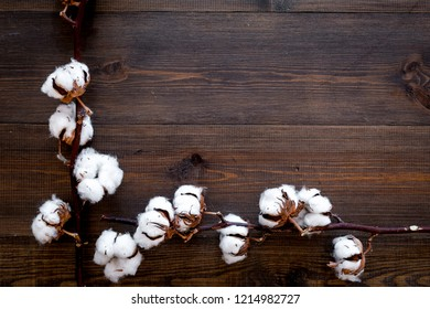 Branch of cotton on dark wooden background top view copy space