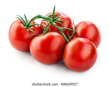 Branch of fresh tomatoes isolated on white. With clipping path.