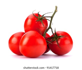 Branch of Juicy tomatoes isolated on white