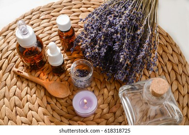 Branch lavender with spa set on woven mat