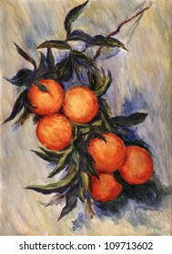 "Branch of Orange. Inspired by Claude Monet painting ""Branch of Orange Bearing Fruit"", watercolor interpretation."